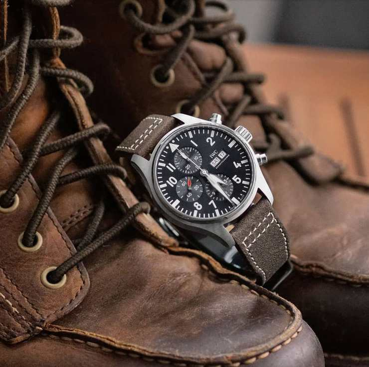 B&R Bands Brown Leather Strap on an IWC Pilot Watch