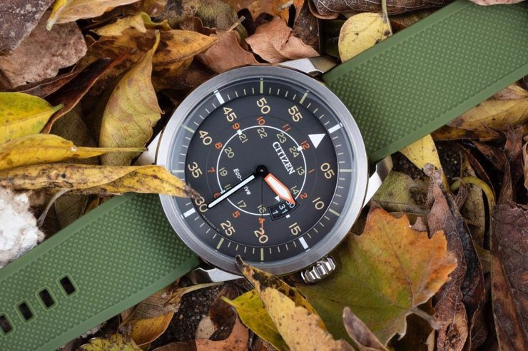 Barton Bands Army Green & Black Elite Silicone on a Citizen Eco-Drive AW1361-10H