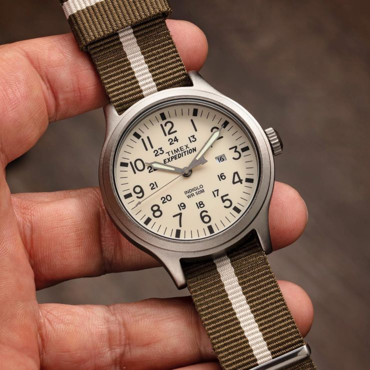 Barton Bands Army Green & Linen NATO style strap on an inexpensive Timex Expedition