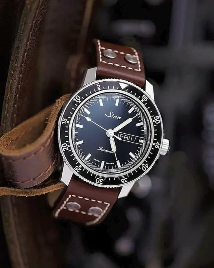 Bas & Lokes Pilot Strap on a Sinn 104 watch
