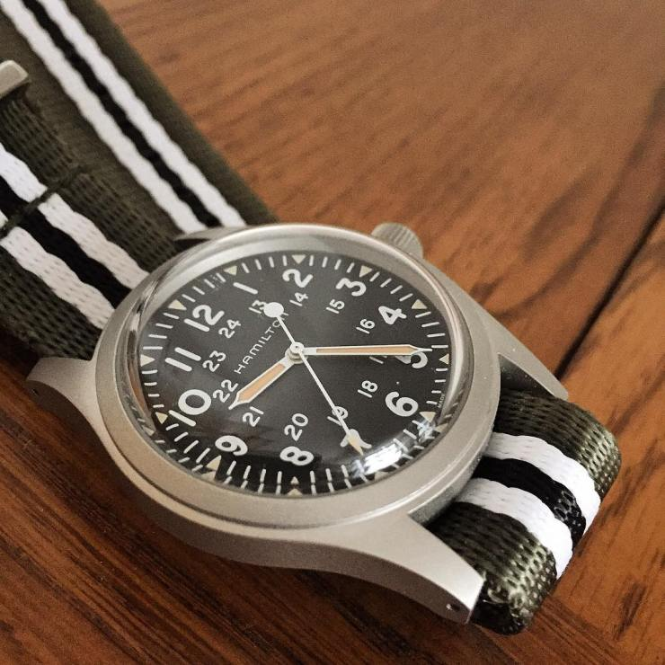 Hamilton Khaki Field Mechanical Watch H69429931 on a Haveston NATO Invasion Strap