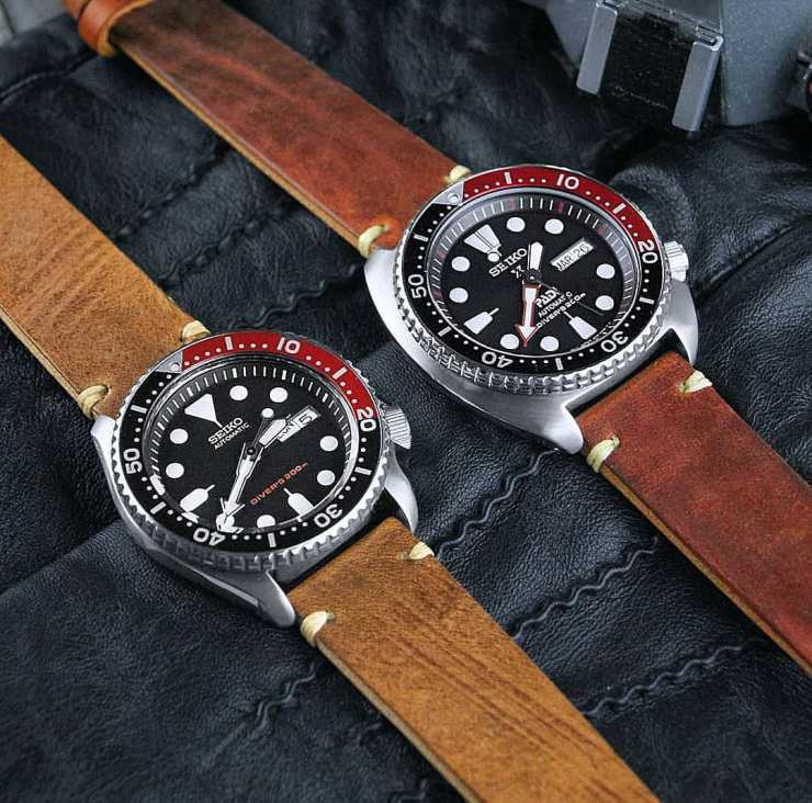 Seiko Divers on brown leather straps from B&R Bands