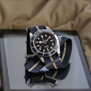 Hybrid Sand Woven Fabric Tudor NATO strap on a Tudor Black Bay Dive Watch