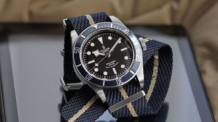 Hybrid Sand Woven Fabric Tudor NATO strap on a Tudor Black Bay Dive Watch