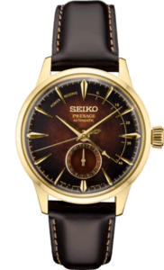 Seiko Presage Cocktail Time - Cloudy Black Dial - Gold Case - Power Reserve -SSA392