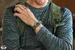 Da Luca Straps olive nylon mil strap on a vintage Omega Seamaster 30 PAF watch