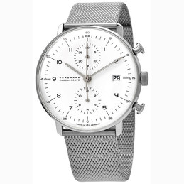 Junghans Max Bill Chronoscope White Dial Mesh Band