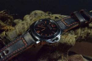 Panerai watch on a custom leather strap from Mansarea