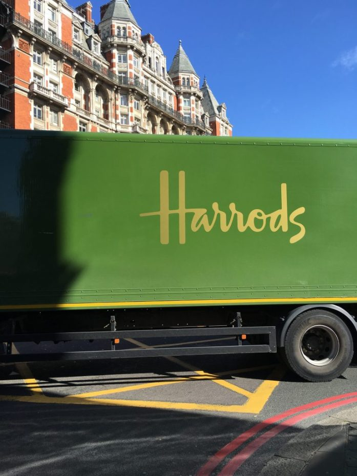 Harrods truck in Knightsbridge, London