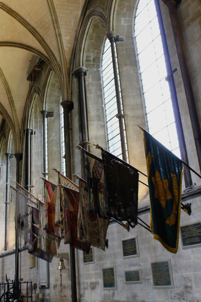 Flags in Salisbury Cathedral