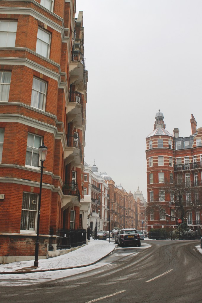 Streets of London in the snow