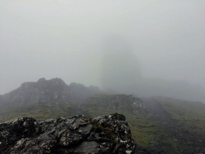 Approaching Old Man Storr in the fog