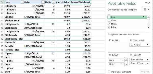 Pivot Table screenshot