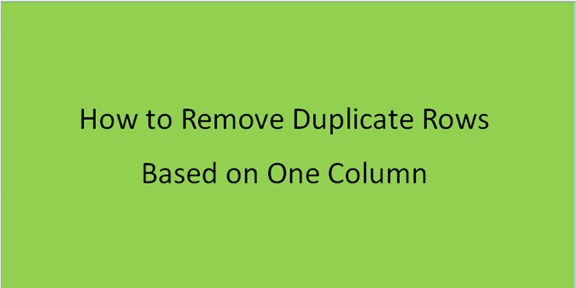 How to remove duplicate rows based on one column
