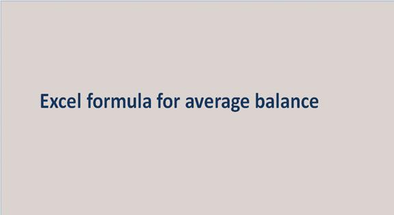 Excel formula for average balance