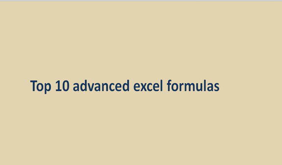 Top 10 advanced excel formulas