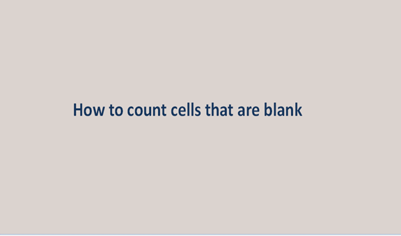 How to count cells that are blank