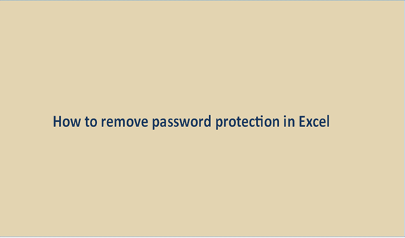 How to remove password protection in Excel