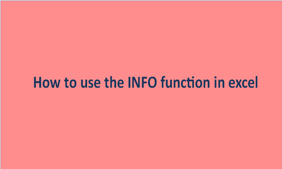 How to use the INFO function in excel