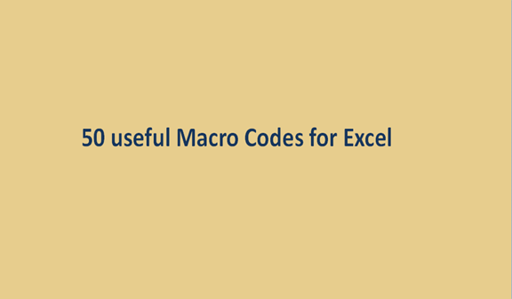 Read more about the article 50 useful Macro Codes for Excel