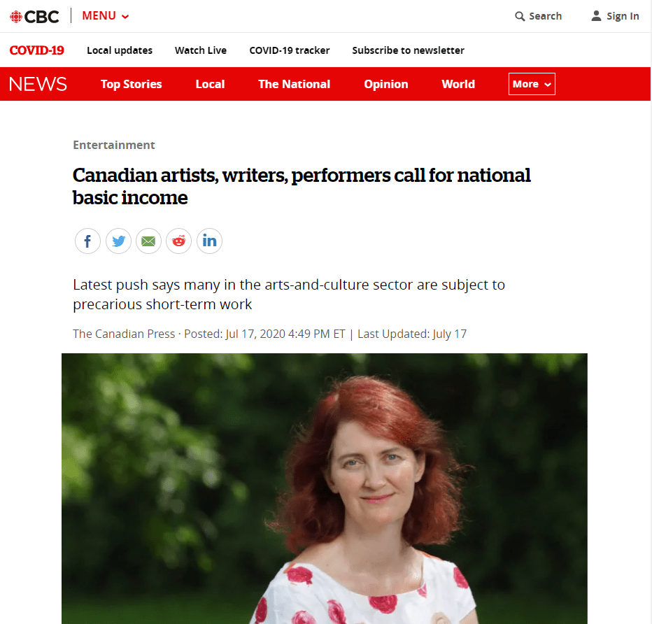 CBC article on open letter by artists4basicincome campaign