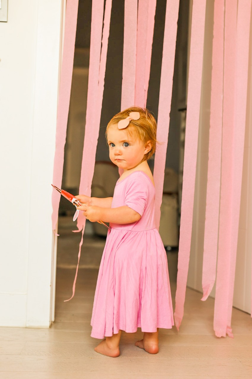 rosalie in pink party dress