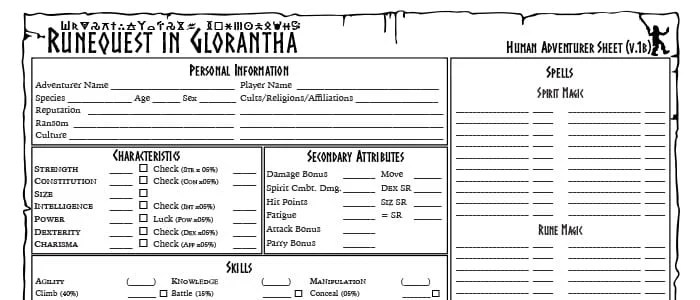RuneQuest in Glorantha Character Sheet