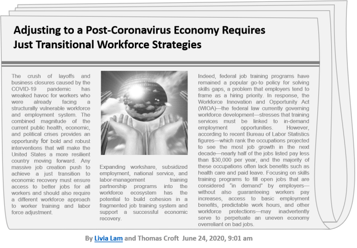 Adjusting to a Post-Coronavirus Economy Requires Just Transitional Workforce Strategies