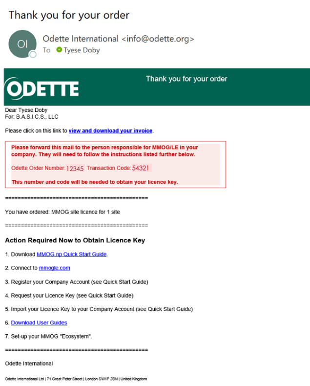 Odette Thank you for your order