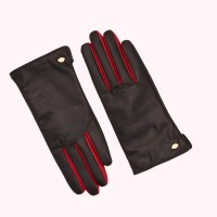 Black and Red Leather Lip Pin Samantha Gloves LULU GUINNESS