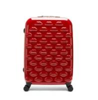 Red Hard Sided Lips Spinner Case. Lulu Guinness