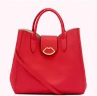 Classic Red Leather Luella Handbag. Lulu Guinness