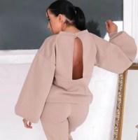 Femme Luxe Stone Balloon Sleeve Open Back Oversized Sweatshirt & Joggers Loungewear Set