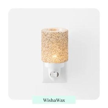 Glitter Silver Mini Warmer with Wall Plug