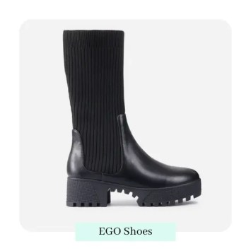 Hint Ribbed Mid Calf Chunky Sole Ankle Bike Boot In Black Faux Leather by Ego