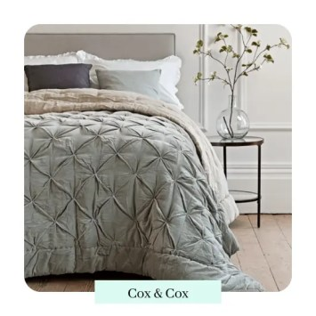 Pin-Tucked Velvet & Linen Kingsize Quilt - Sage Cox & Cox