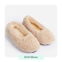 Furever Slip On Flat Shoe In Nude Faux Shearling by ego