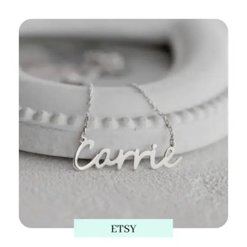 Personalised Cursive Handwritten Name Silver Necklace