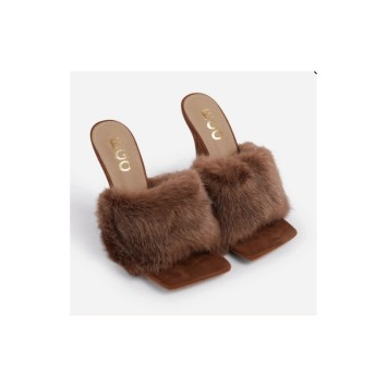 Brown fluffy mules high heel shoes