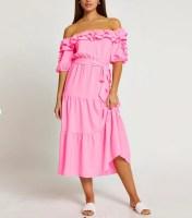 Pink bardot frill midi dress - River Island
