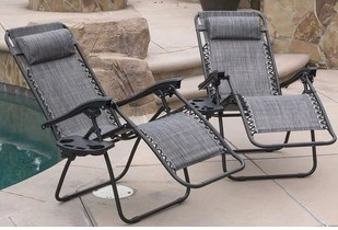 2 Garden Sun Loungers with Cup Holders