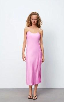 zara Pink satin slip dress
