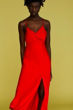 Red slip camisole dress