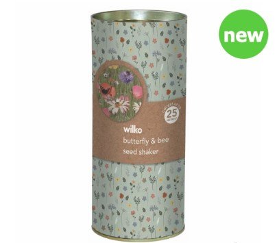 Christmas gift £5 and under Wilko Tube Gift Seed Shaker Bee and Butterfly