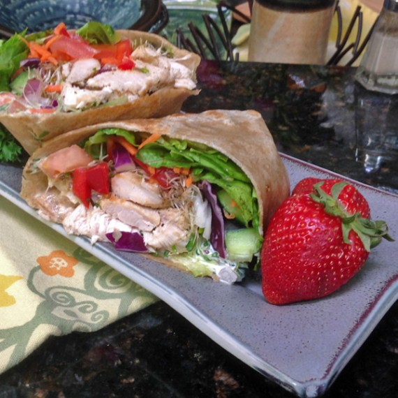 Chicken lotsa veggies wrap, Basil Bandwagon Farm to Market Cafe