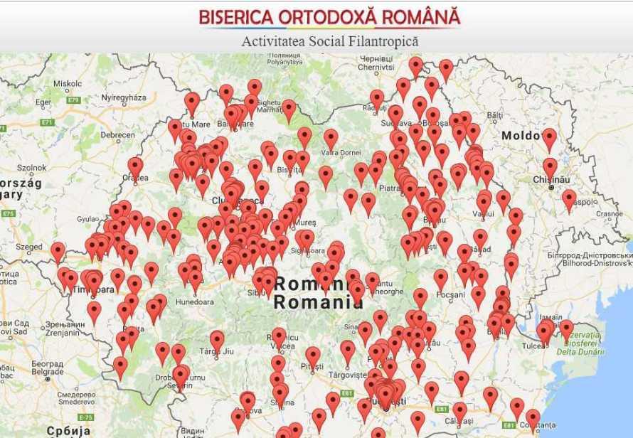 Harta Activități sociale / Patriarhia Română