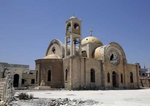 Church affected by war, bombing