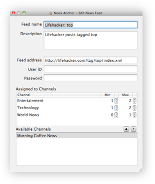 Editing ATOM/RSS feed subscription and assigning news feeds to channels