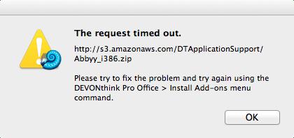 DevonThink Pro Abbyy failed install
