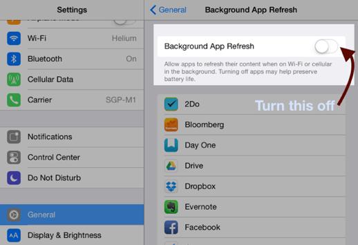 iPad Background Refresh Option